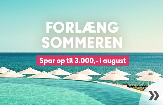 Forlæng sommeren - spar op til 3.000,- i august